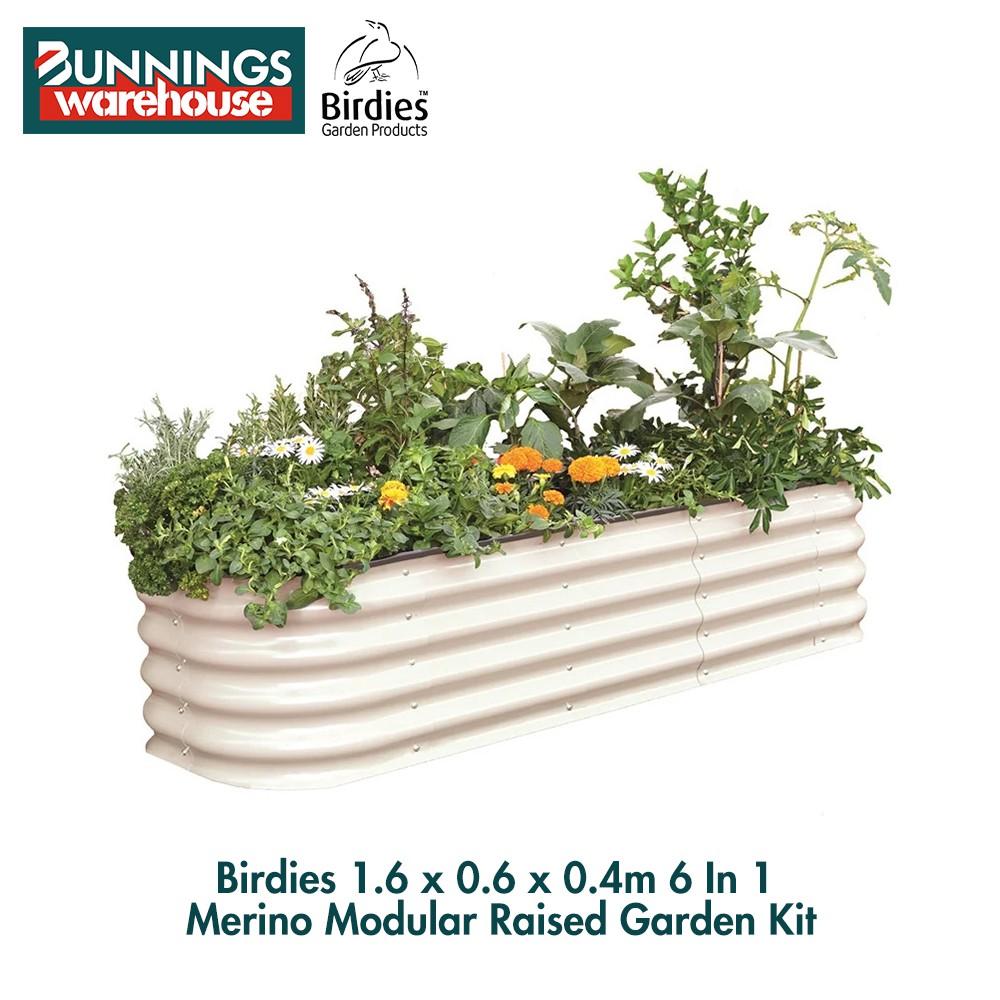 Bunnings Birdies #3321595 1.6 x 0.6 x 0.4m 6 In 1 Merino Modular Raised Garden Kit