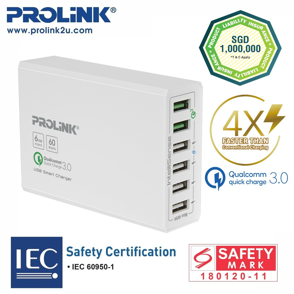 PROLiNK 6-Port USB Charger Qualcomm QC3.0 Fast Charging Advanced Protection (60W) PDC66001