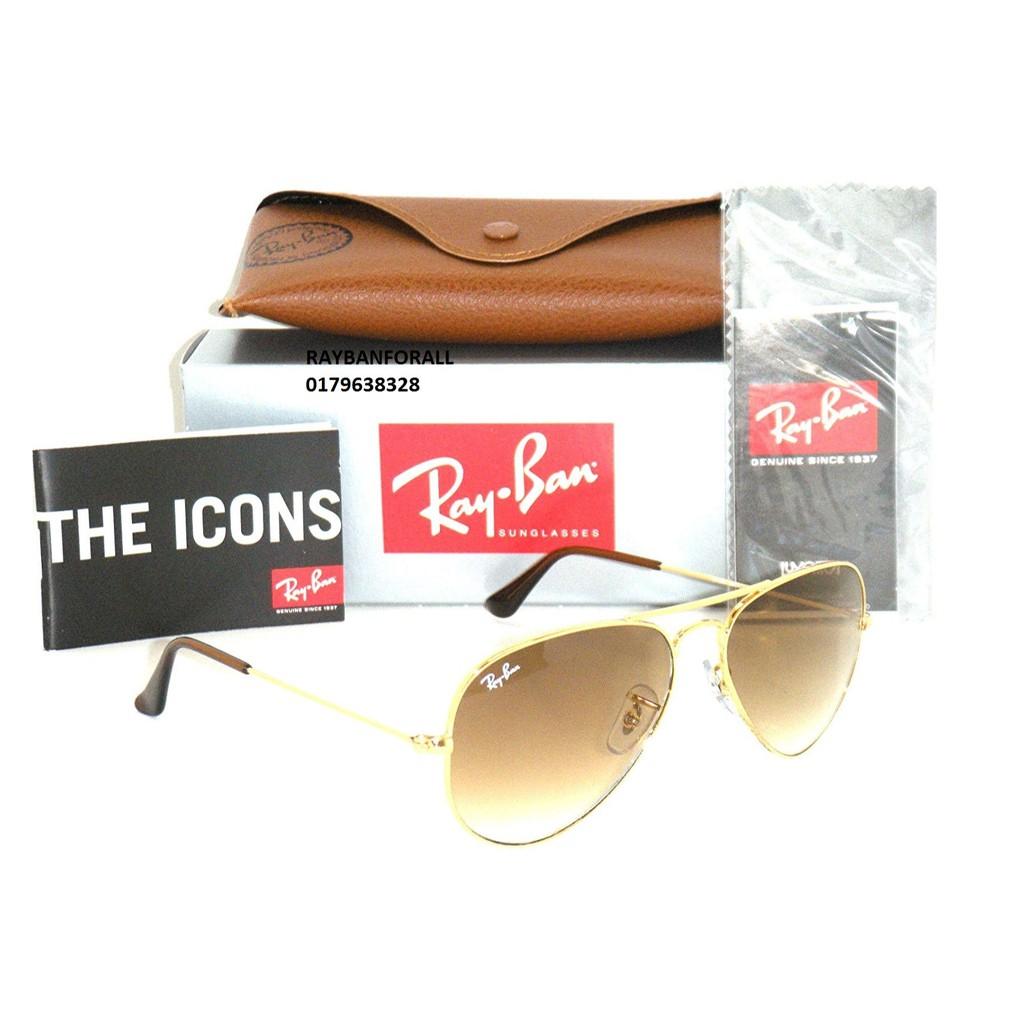 37e0f9e199e3a RayBan Aviator Gold Brown Gradient 58mm Unisex Sunglasses 11285 RB3025 112  85