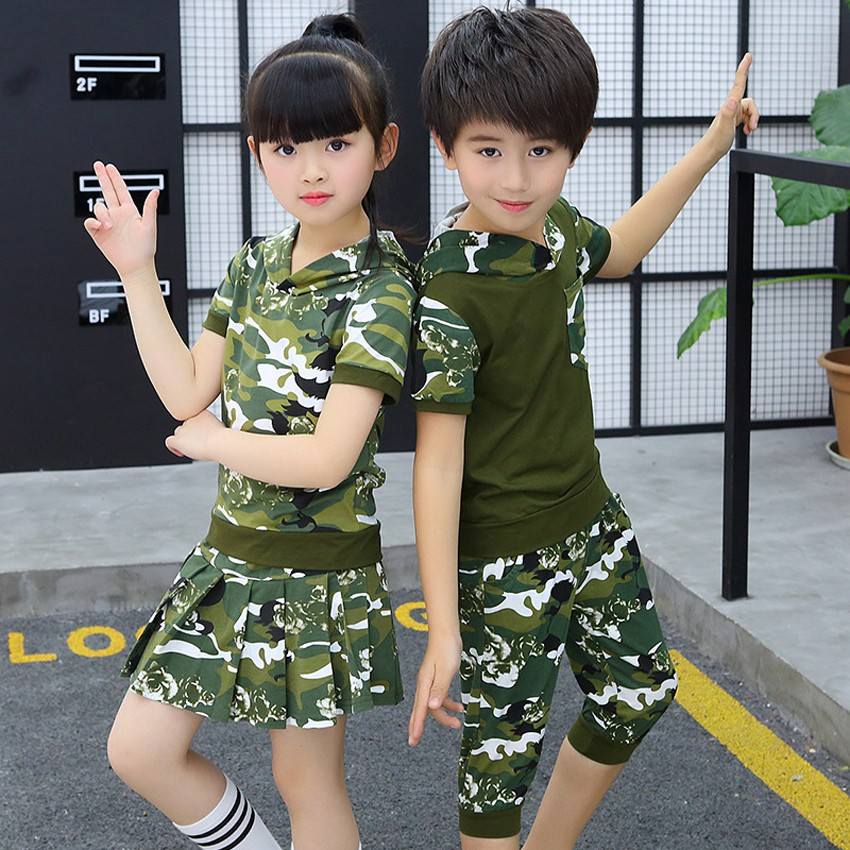 2PCs Camouflage Combat Military Uniform for Kids Boys Girls Hooded Green  T-shirt Skirt Set Combat Army Suit Dance Cost | Shopee Malaysia
