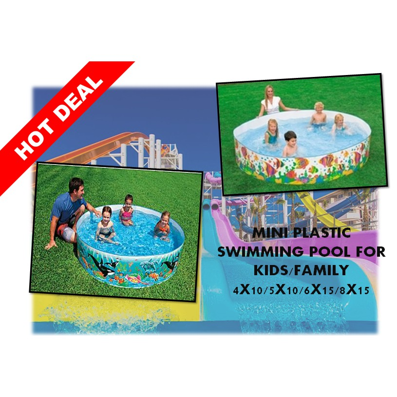 Mini Plastic Swimming Pool For Kids Family 5FT X 10IN
