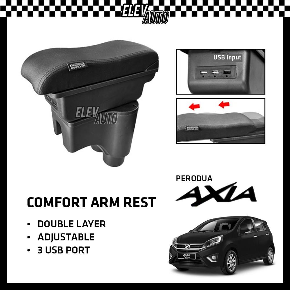 Perodua Axia Premium Leather Arm Rest ArmRest Double Layer Adjustable (3 USB)