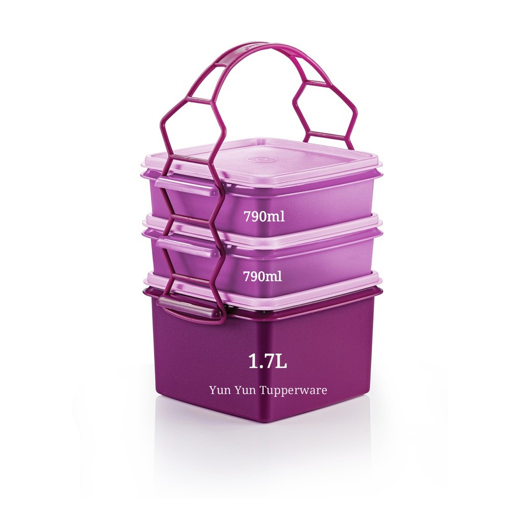 🔥HOT ITEMS🔥 Tupperware Triffin Delight Set - with Double Deep (1) 1.7L + Small Goody Box (2) 790ml