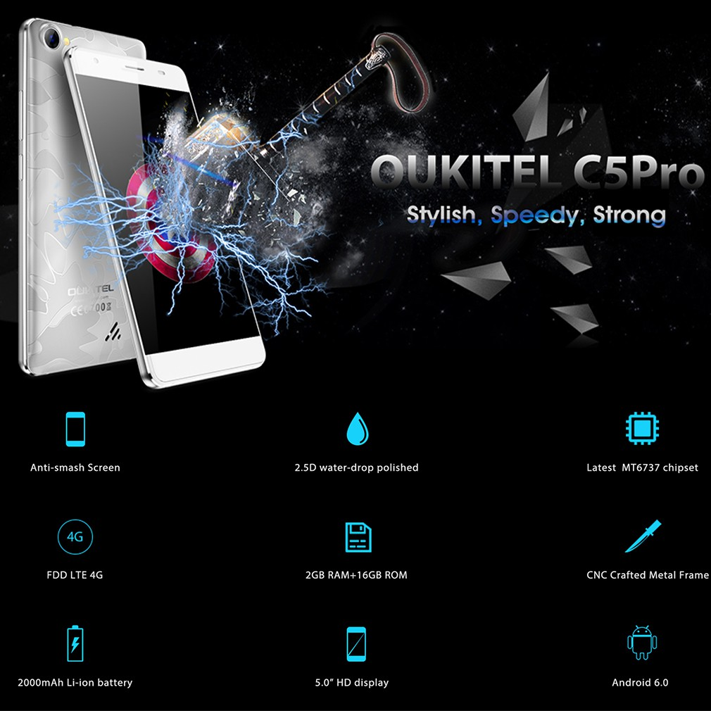 Oukitel C5pro Touch Screen Mobile Phone MTK6737 Quad-Core For Android6 0