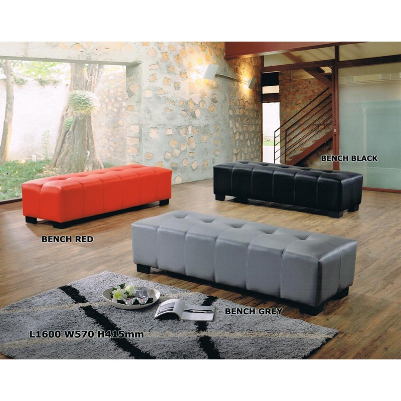 (READY STOCK) Bench Chair with plastic legs/ Stool / Ottomans (RED/GREY/BROWN/BLACK/BEIGE)