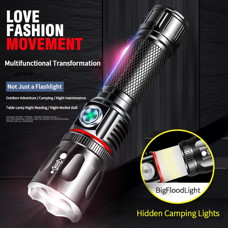 Super Bright LED Flashlight Tactical Torch Zoomable Camp Lamp Rechargeable Light