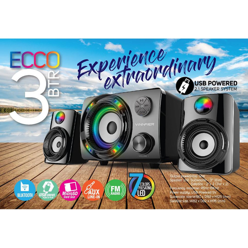 6c4e8d0a386 VINNFIER ECCO 3 BTR Wireless Bluetooth speaker system 7Color Pulsating LED  Light | Shopee Malaysia