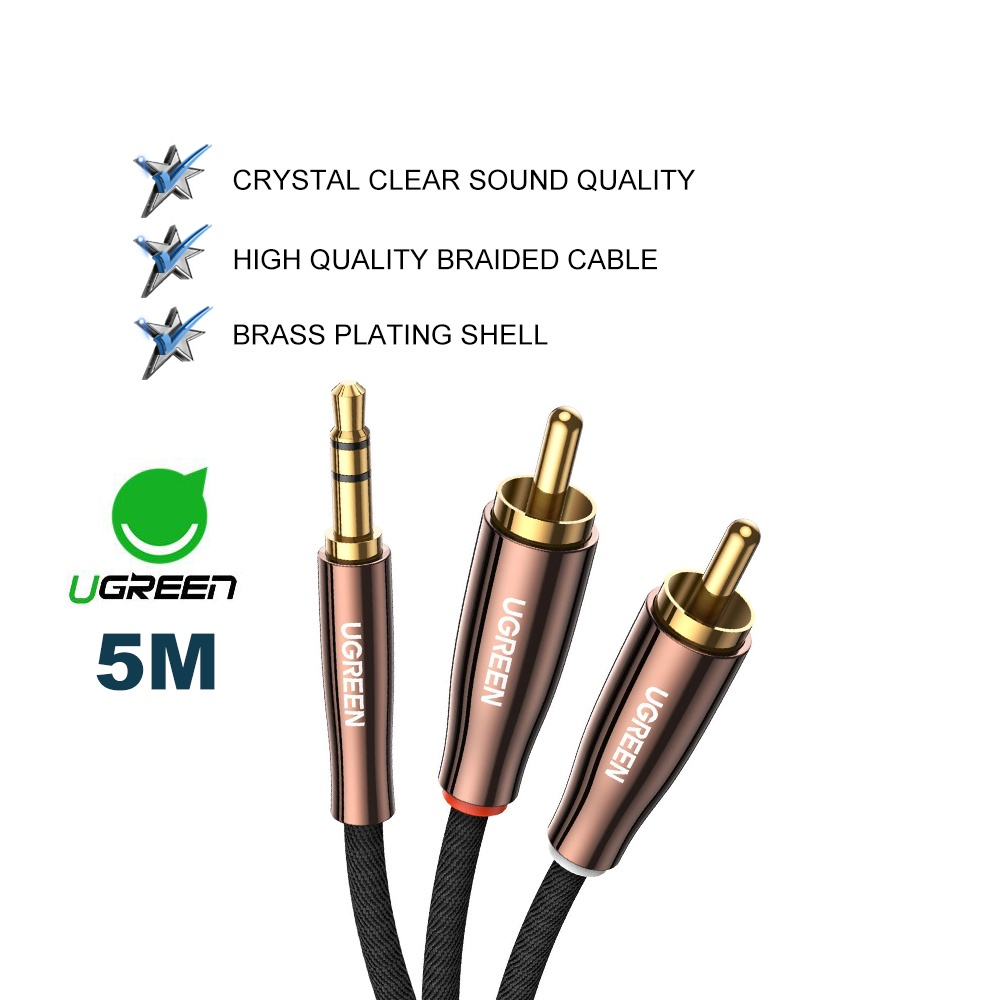 UGREEN 3.5mm to 2RCA Audio Cable Male to Male Adapter Stereo Y Splitter with Smartphone laptop tablet Amplifier Speaker