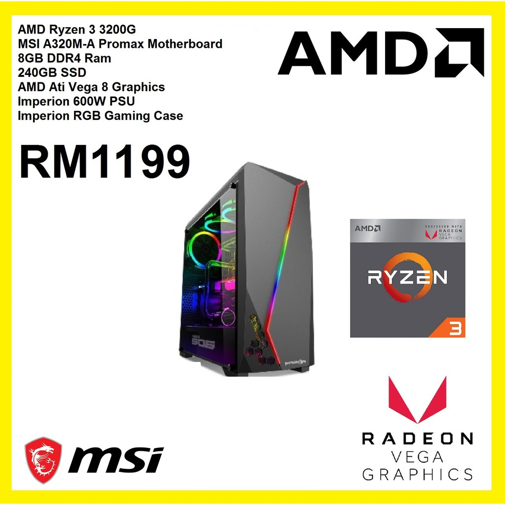 Gaming Pc Desktop Amd Ryzen 3 3200g 8gb 240gb Ssd Vega 8 Graphics 600w Shopee Malaysia