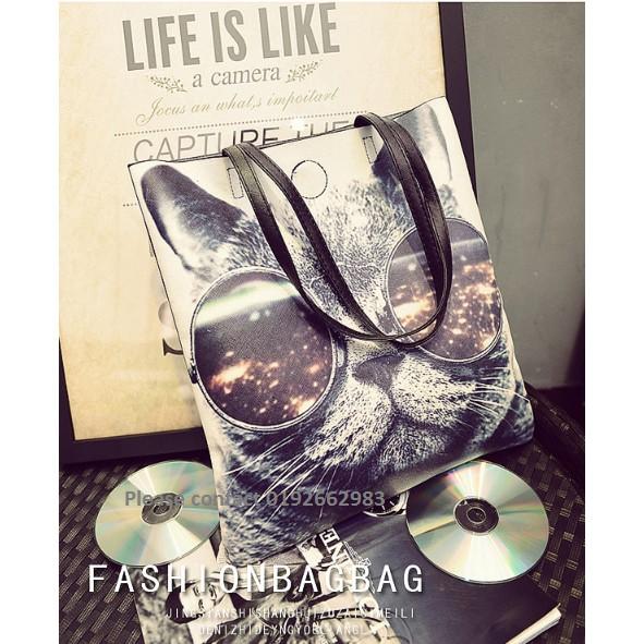 1006-Cat Korean Fashion Style PU Leather Solid Handbag