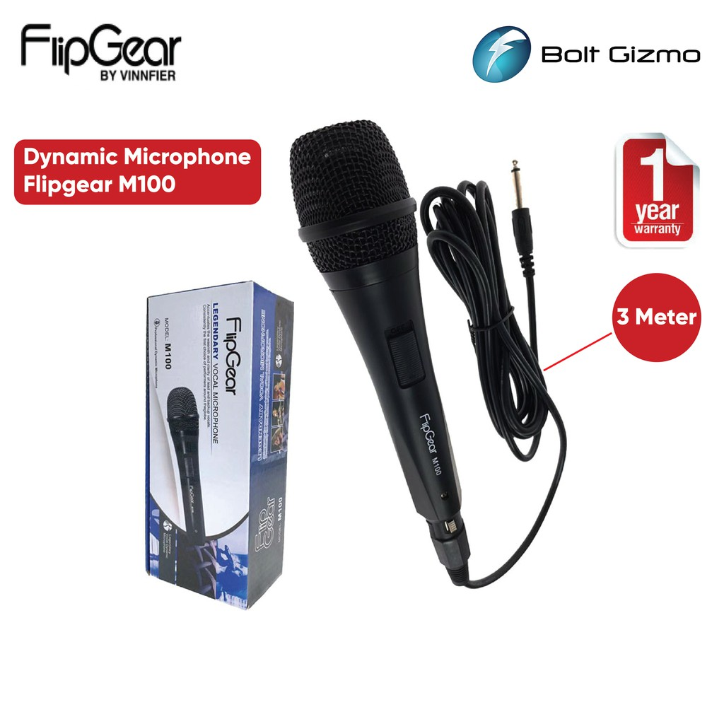 Vinnfier FlipGear M100 Wired Dynamic Microphone with Wire 6.3mm Jack For Vocal Karaoke Mic for speaker Amplifier  M 100