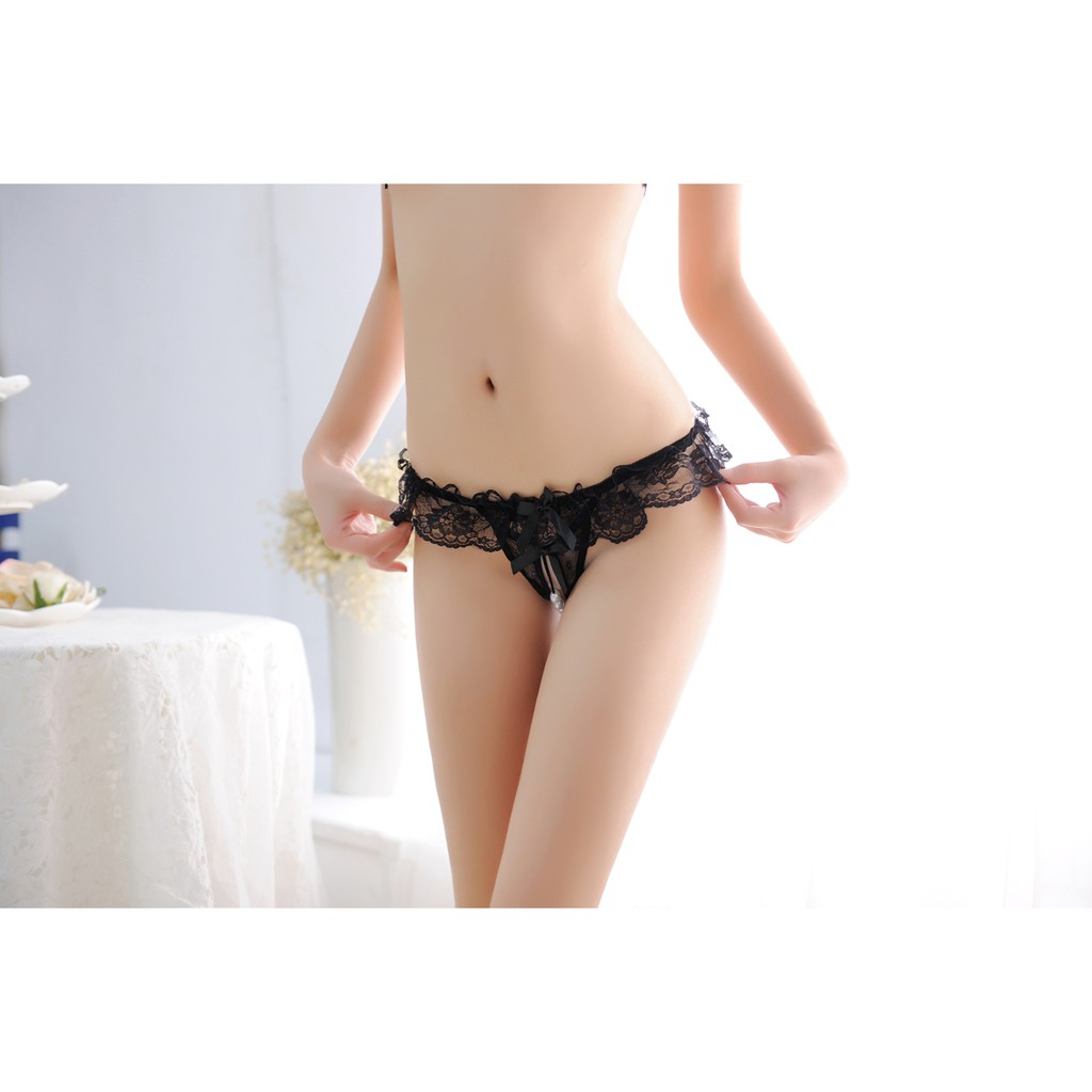 a5dc10435615 00185 Delicate Lace Bowknot With Pearl G-String | Shopee Malaysia