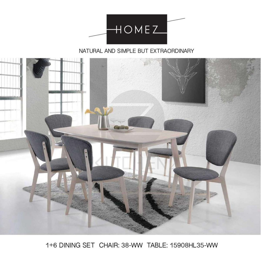 Cucina Letters Kitchen Decor, Homez Solid Wood Dining Table With 6 Chairs Shopee Malaysia