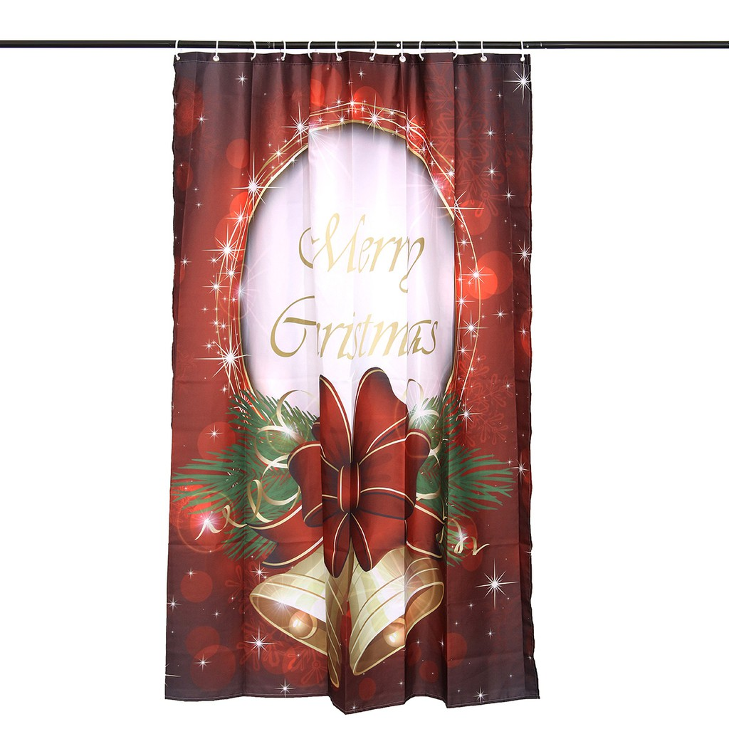 150 180cm Merry Christmas Waterproof Polyester Bathroom Shower Curtain W Rings