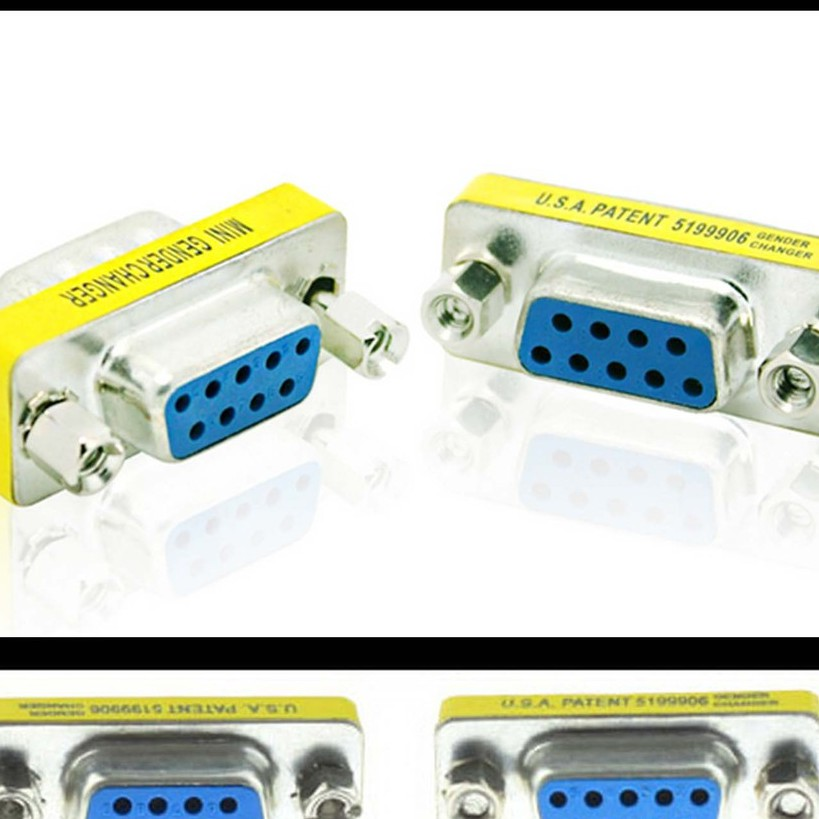 High Quality Mini Null Modem DB9 Female to DB9 Male plug Adapter Gender Changer