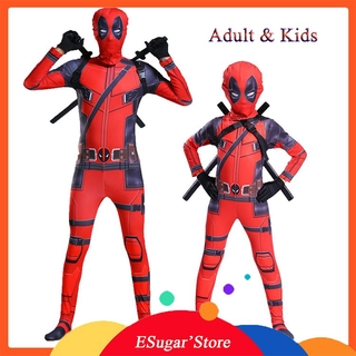 Kids Adult Deadpool Costume With Mask Superhero Cosplay Suit Boys Full Bodysuit Zentai Jumpsuit Halloween Party Dress Up Shopee Malaysia