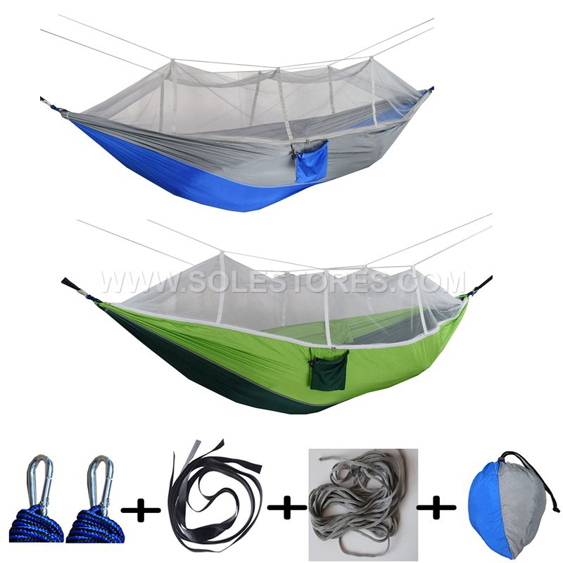 Double Lightweight Nylon Hammock with Mosquito Net Hammock for Camping  Backpacking