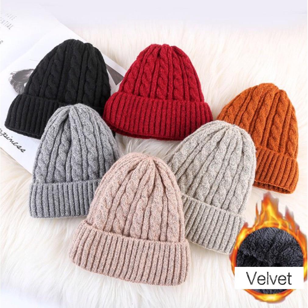 06484c332 JX111, Mens and Women Velvet Beanie, Twist Knit Hat, Velvet, Thick