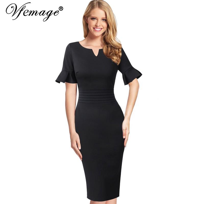 b36ea0c0f0fb Gosopin Plus Size Elegant Office Ladies Work Dresses Summer Ruffle Half  Sleeve