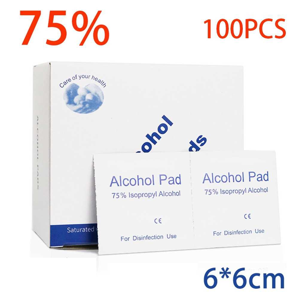 100pcs Disposable 75 Degree Alcohol Cotton Sheet Sterilization Wipe Mobile Cleaning Wipes 60*60mm Size (Standard)