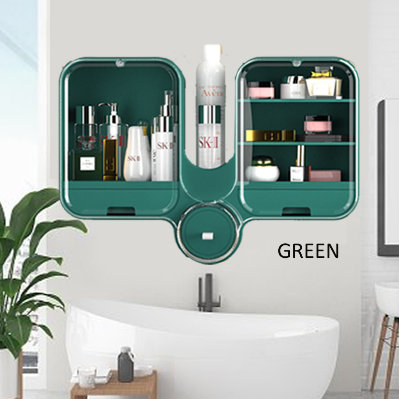 GDeal Wall Mounted Punch Free Dustproof Multifunctional Unique Bathroom Amenities Storage Box