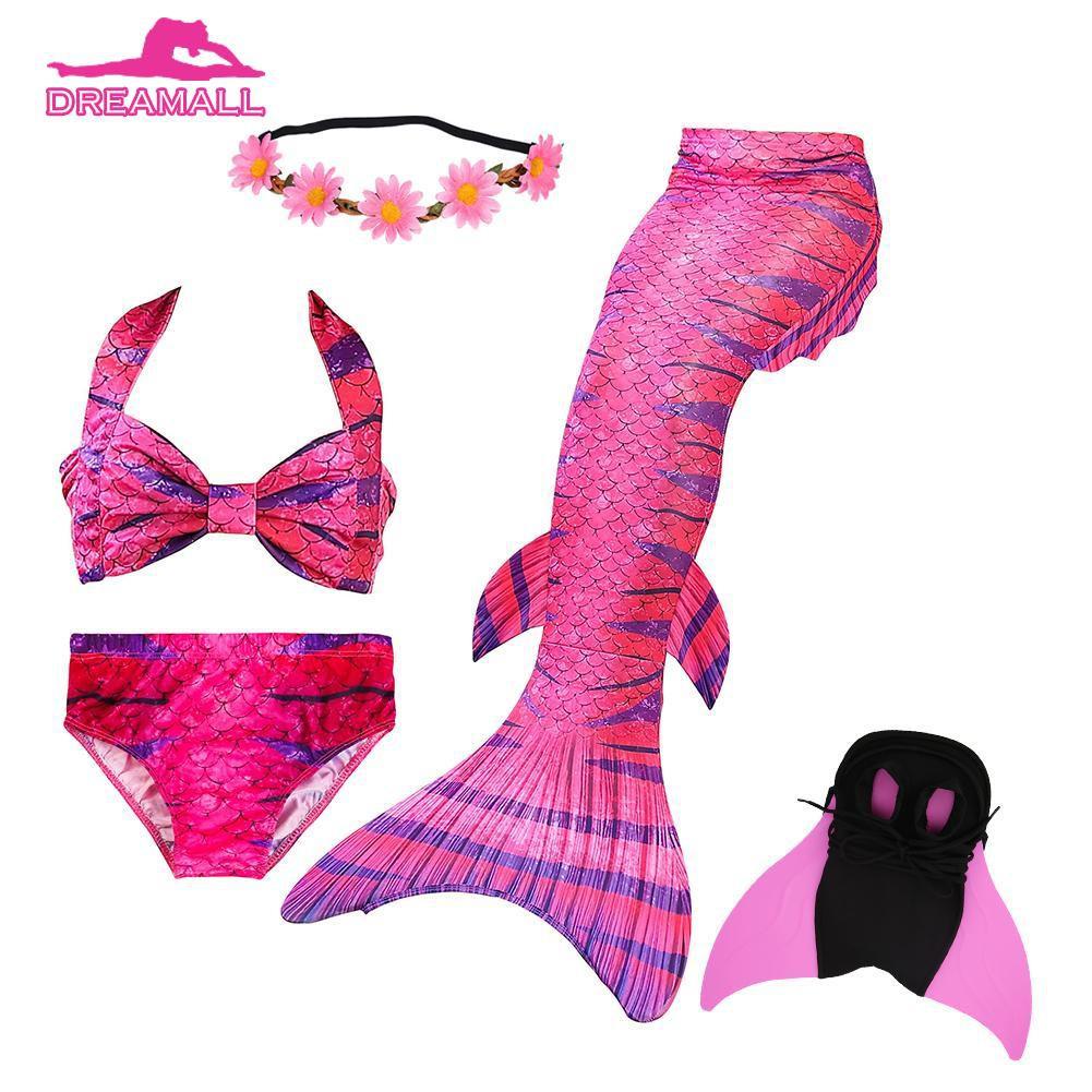 f2bc02ba71 dr❤ 5pcs Girls Swimsuit Fish Tails Princess Bikini Set Swimming Bathing Suit