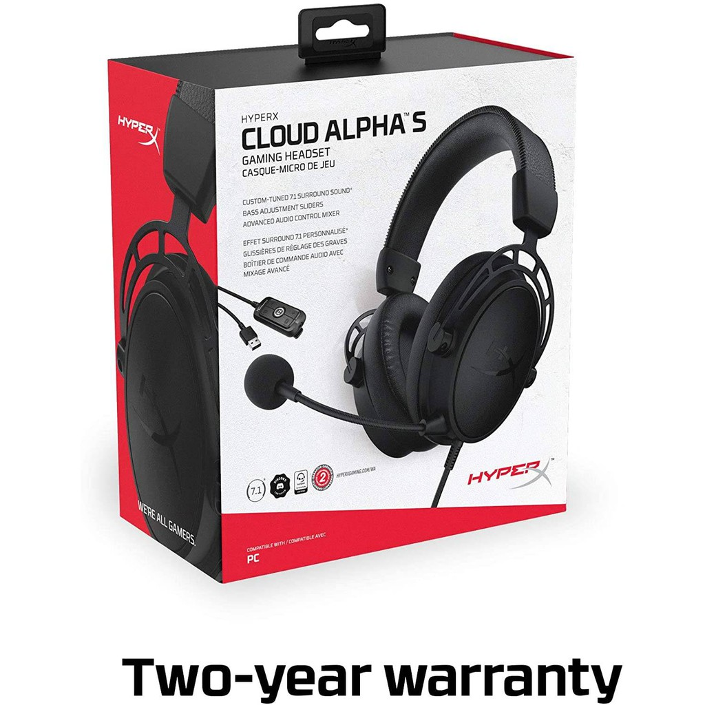 {HX-HSCAS} HyperX Cloud Alpha S Gaming Headset with HyperX 7.1 Surround Sound (Black/Blue)