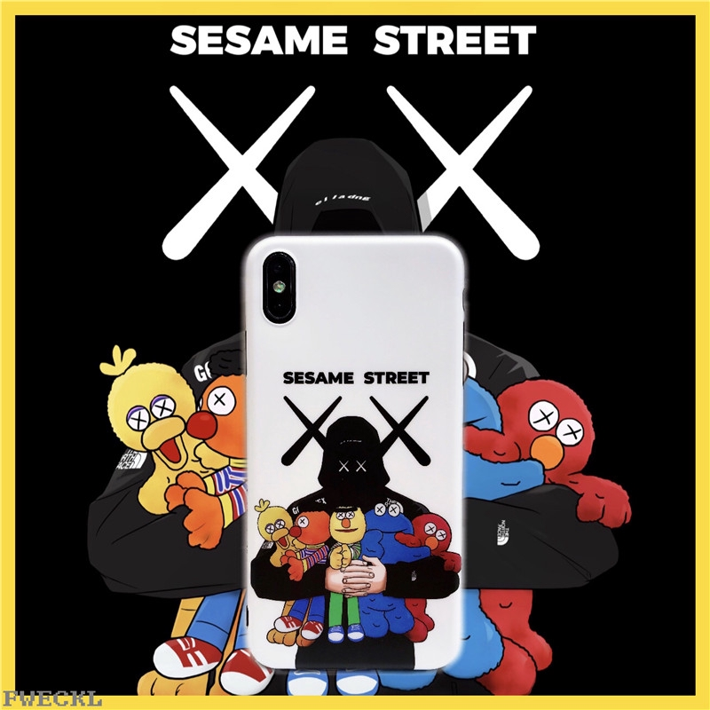 New KAWS joint name Sesame Street Phone Case iPhone 6 6s 7 8 Plus X XS MAX  R Cartoon Sesame Street Silicone Phone Casing