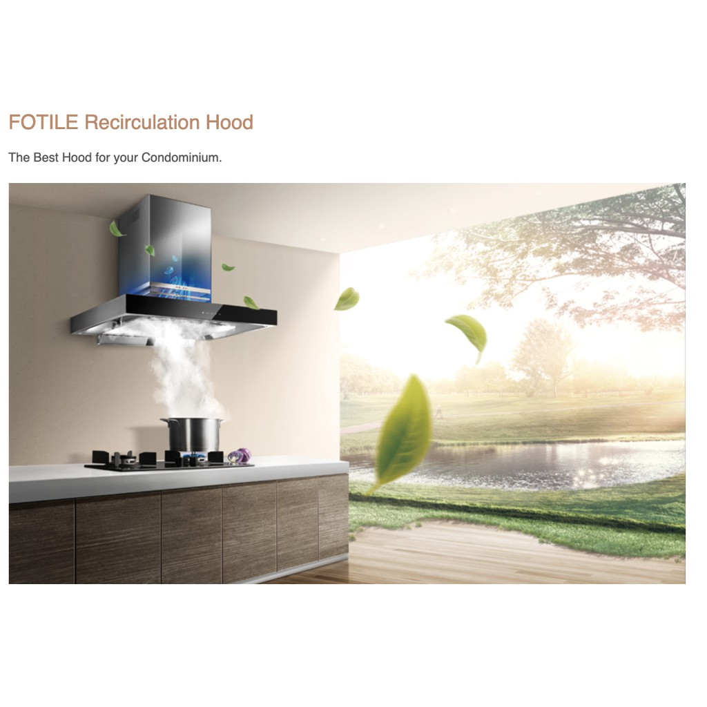 FOTILE EMS9021-R CHIMNEY HOOD 1080M3/H RECIRCULATION HOOD 90CM STAINLESS STEEL ENERGY SAVING PATENTED WING-LIKE SUCTION