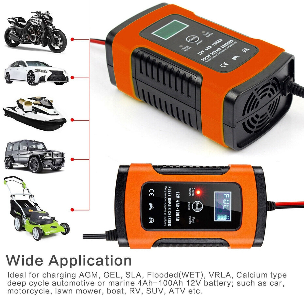 Full Automatic Fast Motorcycle 6A 12V Automobile Universal Smart Battery  Charger