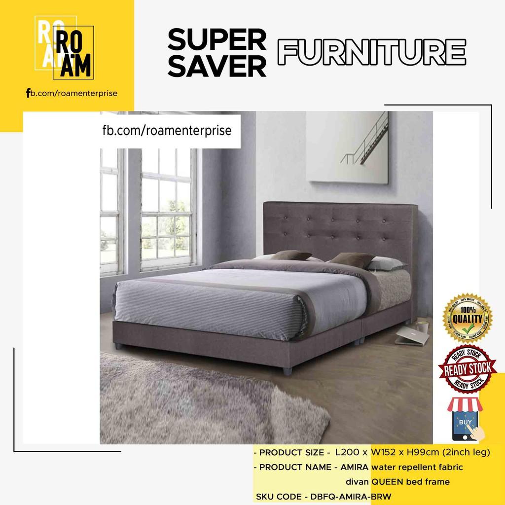 DIVAN water repellent fabric divan queen bed frame 9005 Queen - BROWN COLOR (FABRIC MATERIAL)