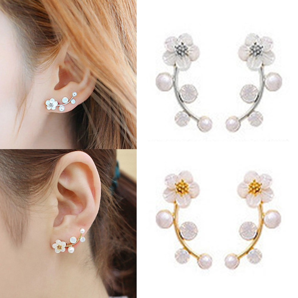Women Sweet Earings Rose Shaped Artificial Pearl Diamond Stud Earrings BRIC