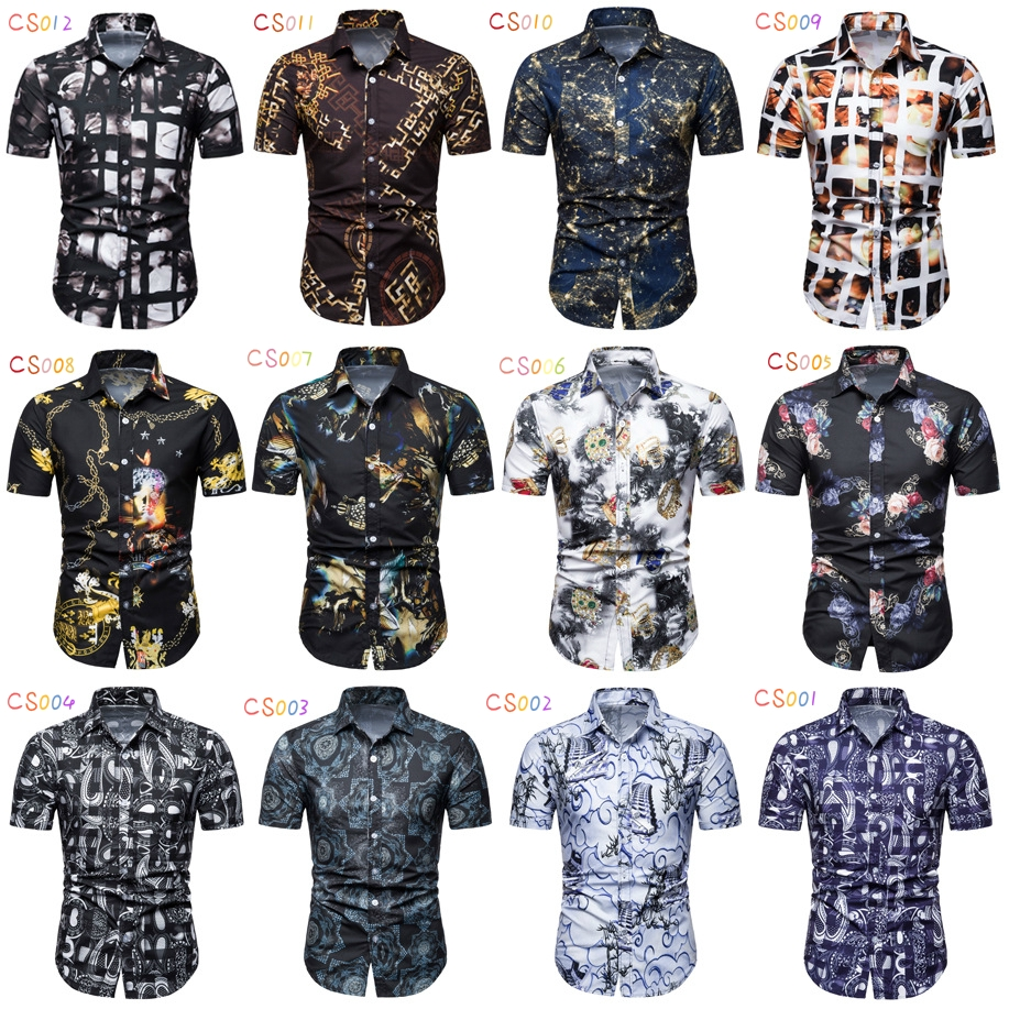 Otto Dobbin Summer New Mens Short-Sleeved Printed Shirt Casual Slim Mens Shirt Color : Sky Blue, Size : XL