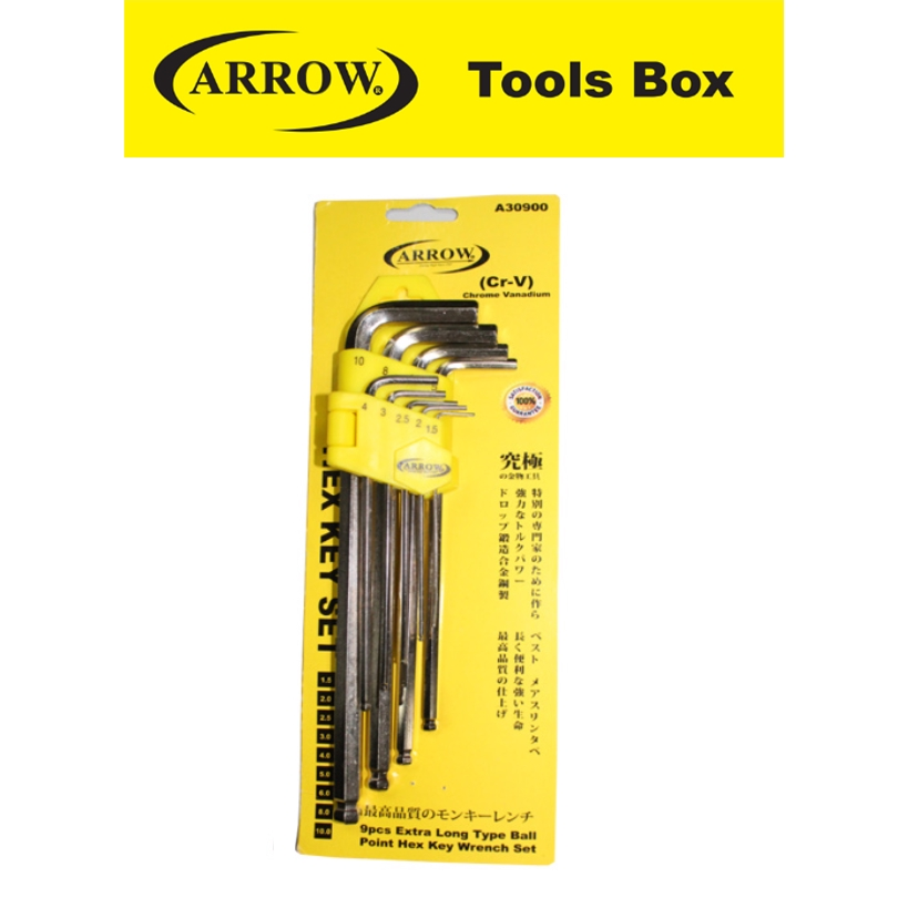 ARROW A30900 9 PIECES LONG BAIL PIONT KEY WRENCH SET EASY USE SAFETY GOOD QUALITY