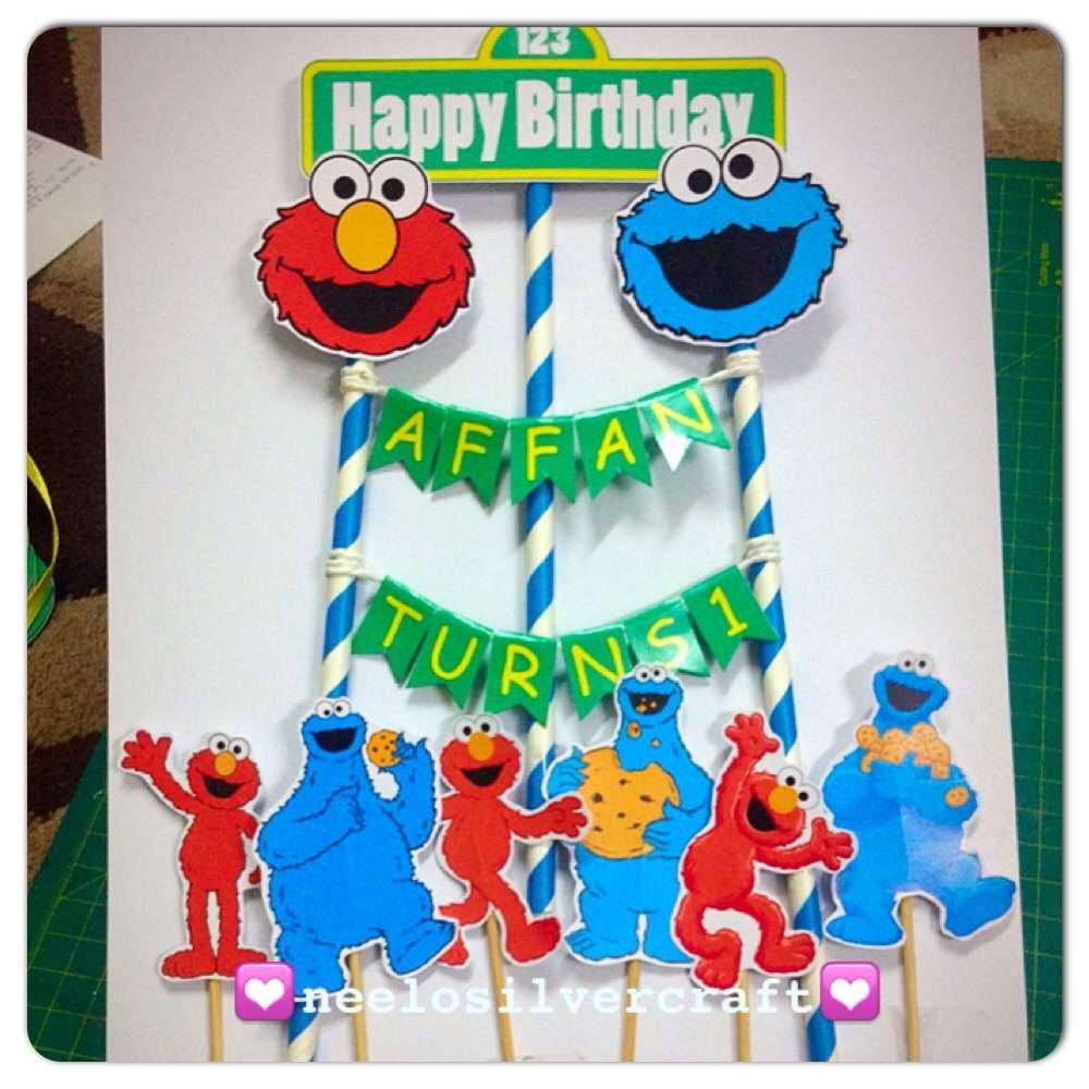 Seseme Street Elmo Monster Cookie Birthday Cake Topper