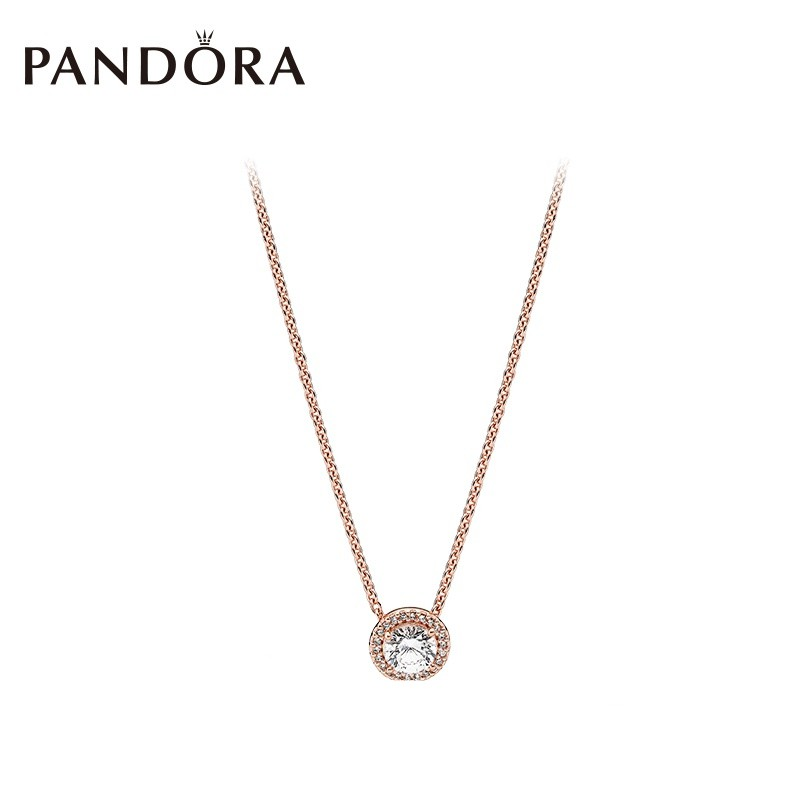 1d04cc0368e4f Original PANDORA rose gold classic necklace 386240CZ simple clavicle chain  jewelry Rose emas perhiasan kalung klasik