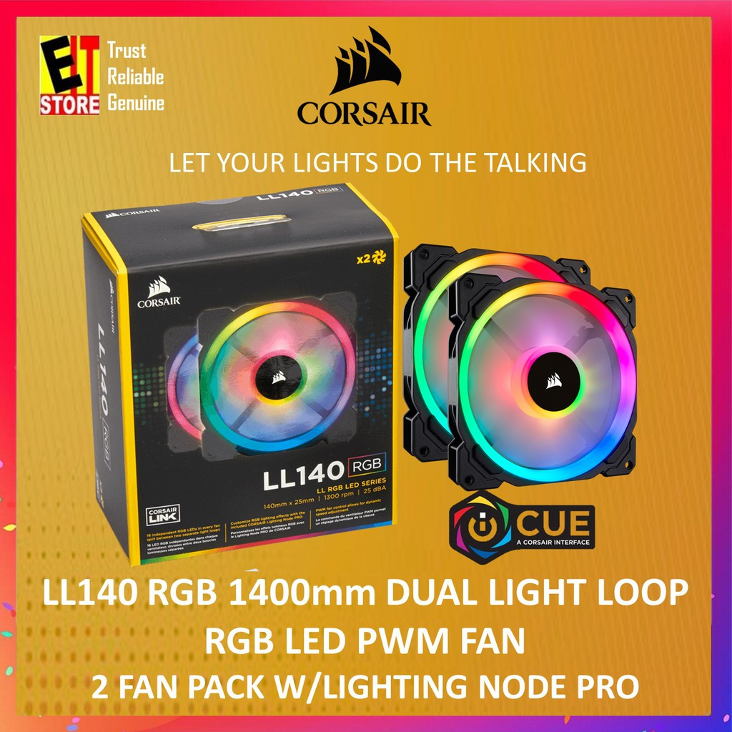 CORSAIR LL140 RGB 140MM,TWIN PACK WITH LIGHTING NODE PRO (CO-9050074-WW)