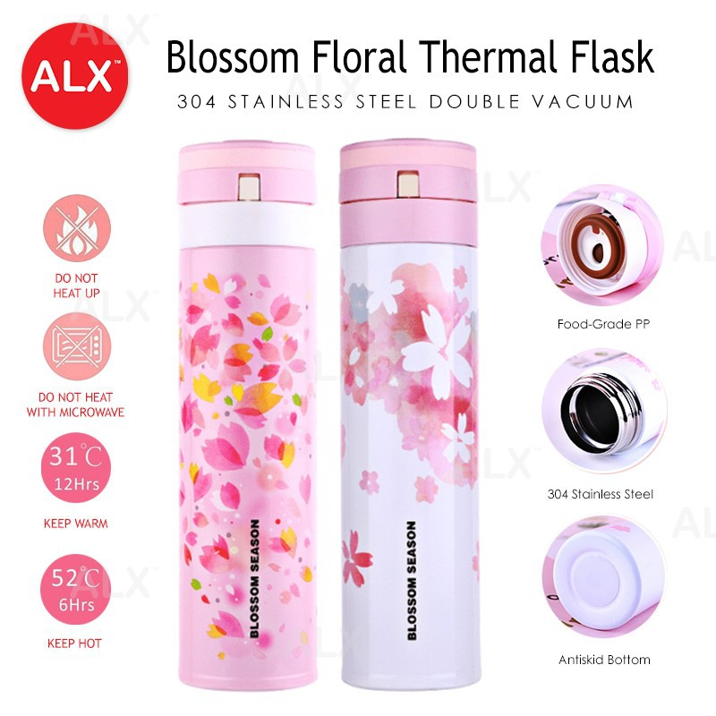 ALX Blossom Floral Double 304 Stainless Steel 450ML Bottle Thermos Tumbler  Flask