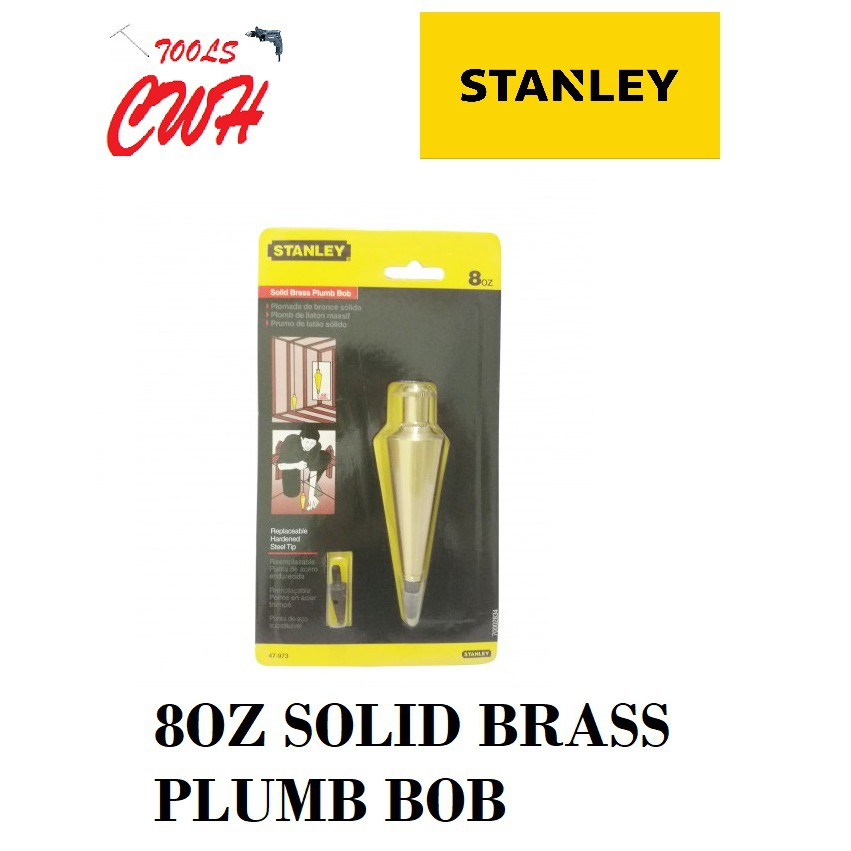 8OUNCE 133MM STANLEY SOLID BRASS PLUMB BOB 47973 47-973