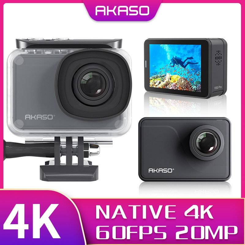 AKASO V50 Pro SE Action Camera Touch Screen 4K60 Waterproof Camera Features  EIS and Wi-Fi Remote Control Sports Camera