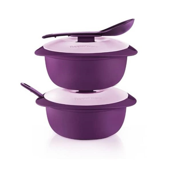 Tupperware Purple Royale Round Server with Serving Spoon 1.6L -  2pcs