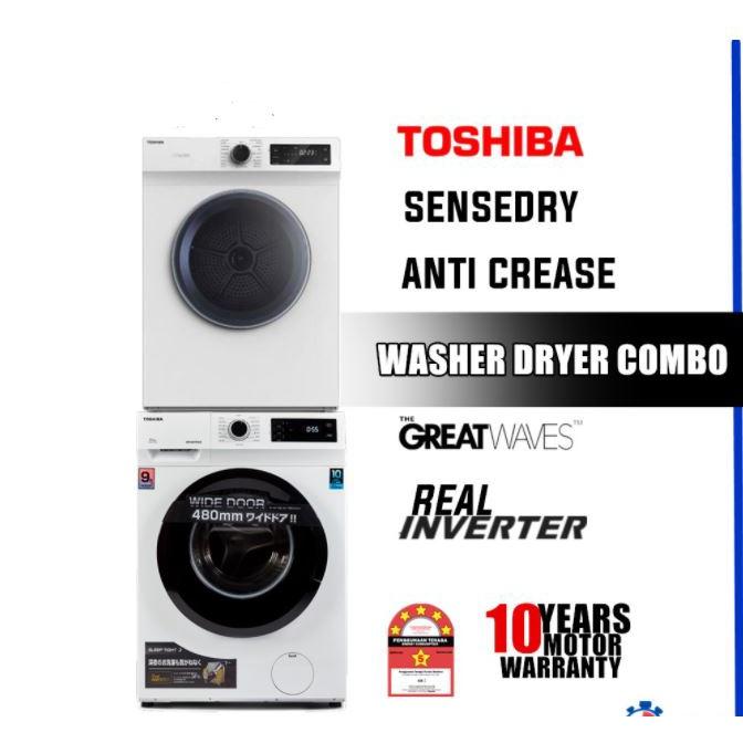 Toshiba Inverter Washing Machine (9.5kg) + SenseDry Dryer (7kg) TW-BK105S2M TD-H80SEM