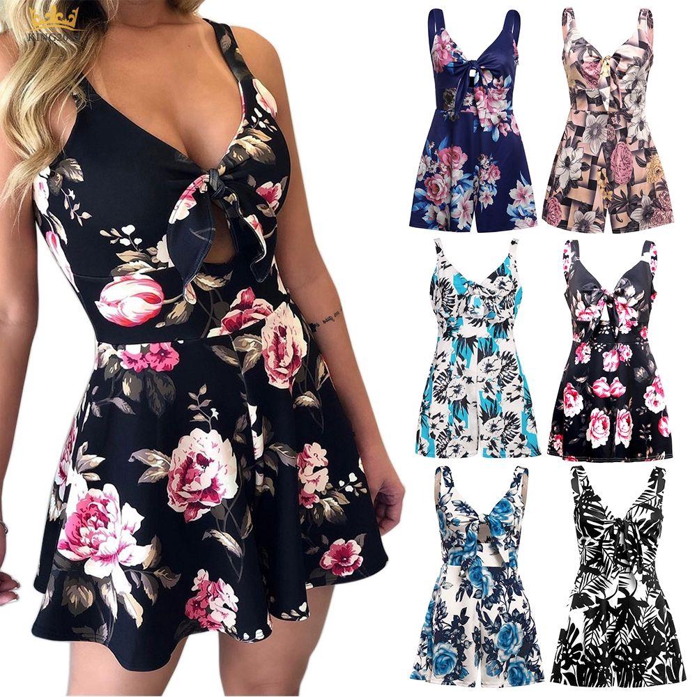 Womens Mini Playsuits Floral Print Summer Holiday Beach Shorts Sundress Jumpsuit