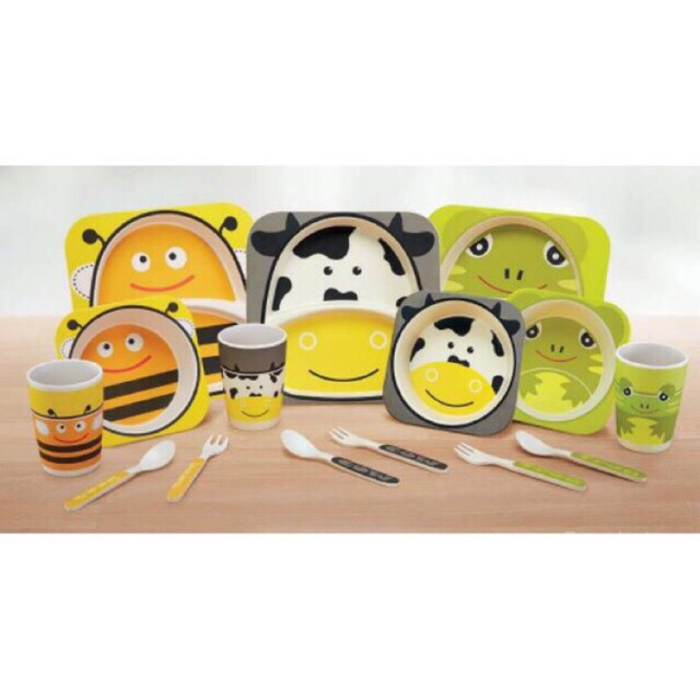 Friso Gold Eco Friendly Bamboo Fiber Kids Dinner Meal Set-Plate, Square Bowl, Cup, Cutlery