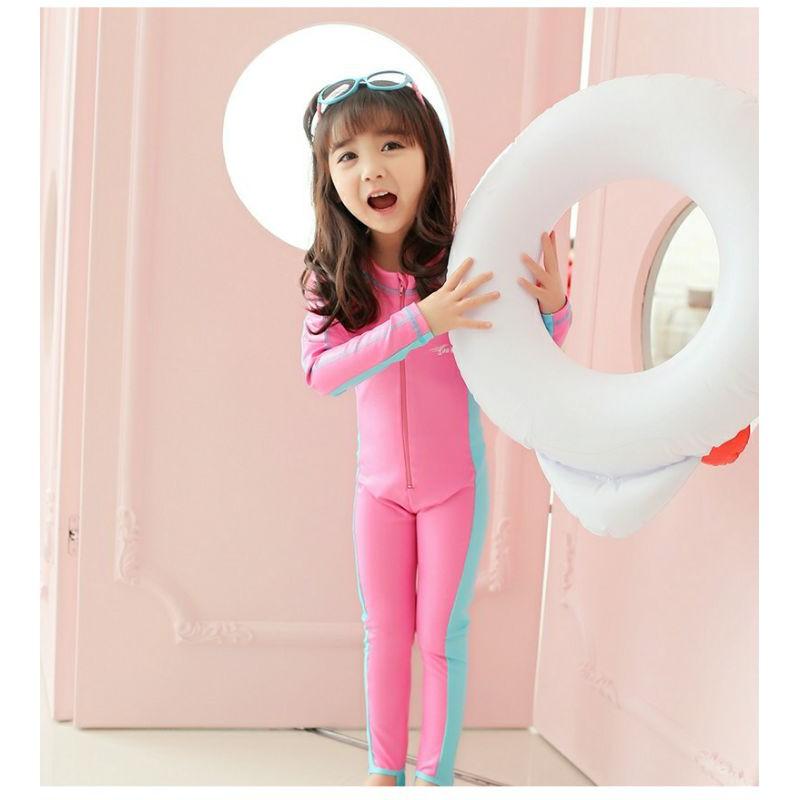 Baju Renang Budak Tangan Panjang / Kids Swimming Suit Long Sleeve 1pcs Boy Girl Swimming Suit Swimming Pool >NHSTORE