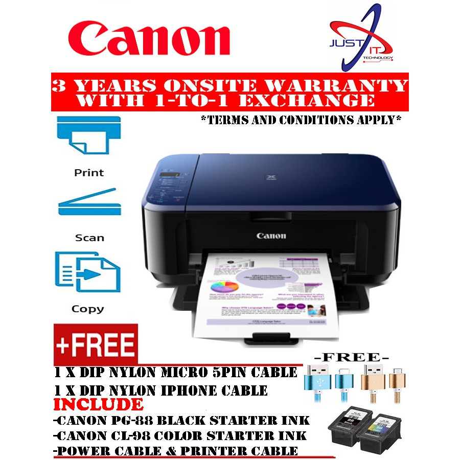 Canon E510 All In One Printer Free Phone Charging Cable Or Usb Car Charger Pixma Multifunction Inkjet Shopee Malaysia