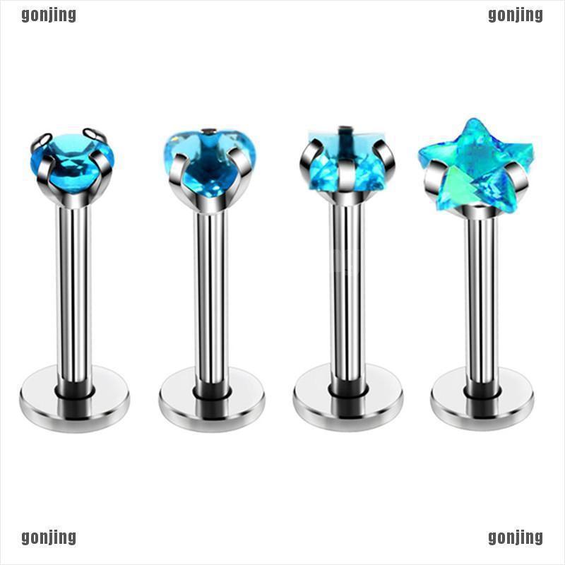 4PCS//Set 16G Crystal Tragus Lip Ring Ear Cartilage Stud Earring Bars PiercingIHS