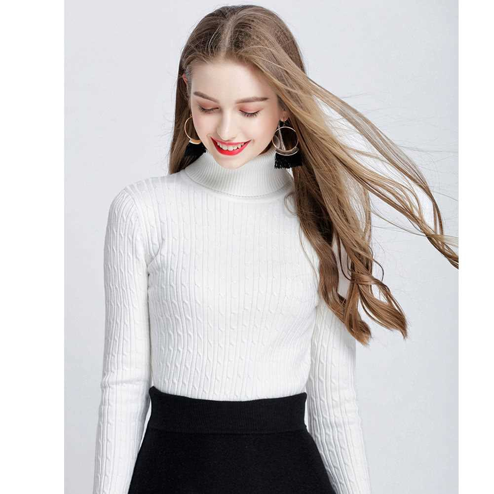 New Women Twist Knitted Sweater Solid Turtleneck Long Sleeve Slim Thickening Pullover Jumper Knitwear Top (White)