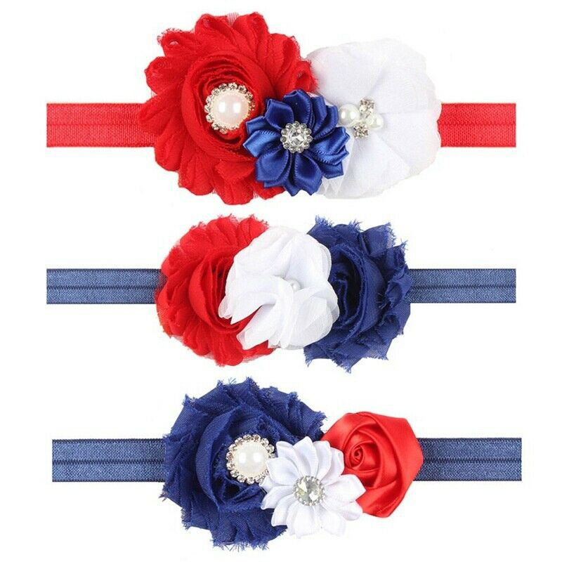 Toddler Kid Baby Girl 4th Of July Star Stripe Print turban hairband Headband