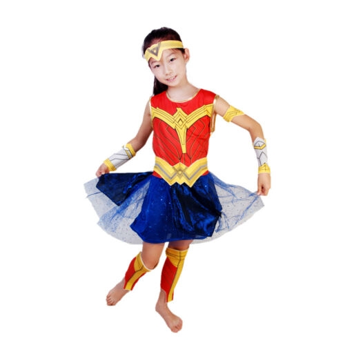 f90294e8a8fb2 Kid Wonder Woman Cosplay Dresses Girl Diana Prince Costumes Outfit 6pcs Set